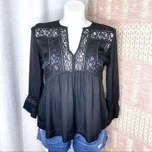 Rebecca Taylor Black 100% Silk & Lace Top Size 8
